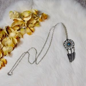 Jewelry - 5/$25 Silver & Turquoise Dreamcatcher Necklace